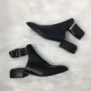 Steve Madden Black Leather Ankle Strap Booties